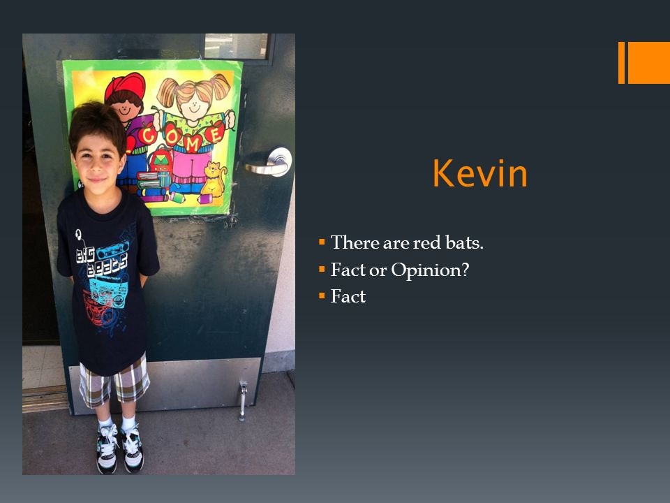 Kevin There are red bats. Fact or Opinion Fact