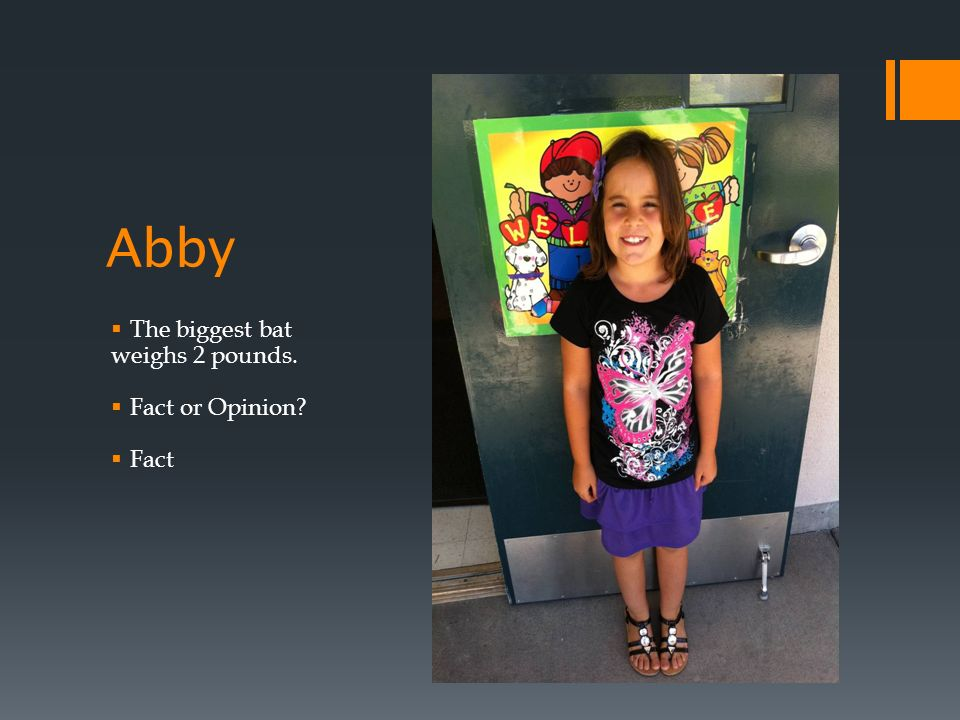 Abby The biggest bat weighs 2 pounds. Fact or Opinion Fact
