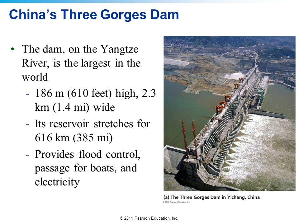 © 2011 Pearson Education, Inc. Chinas Three Gorges Dam The dam, on the Yangtze River, is the largest in the world -186 m (610 feet) high, 2.3 km (1.4