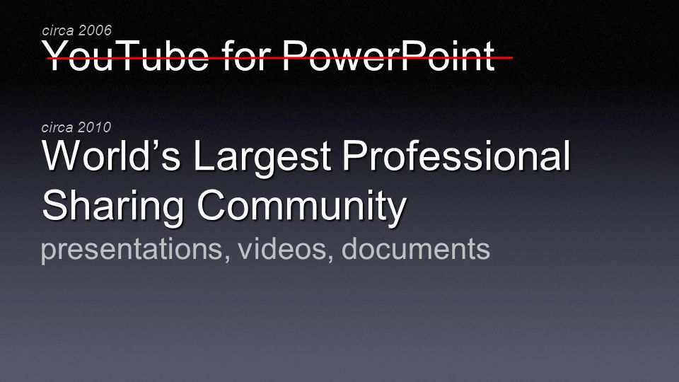YouTube for PowerPoint Worlds Largest Professional Sharing Community presentations, videos, documents circa 2006 circa 2010