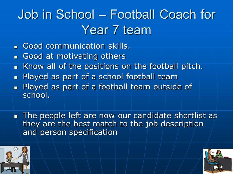 Job in School – Football Coach for Year 7 team Good communication skills. Good communication skills. Good at motivating others Good at motivating othe