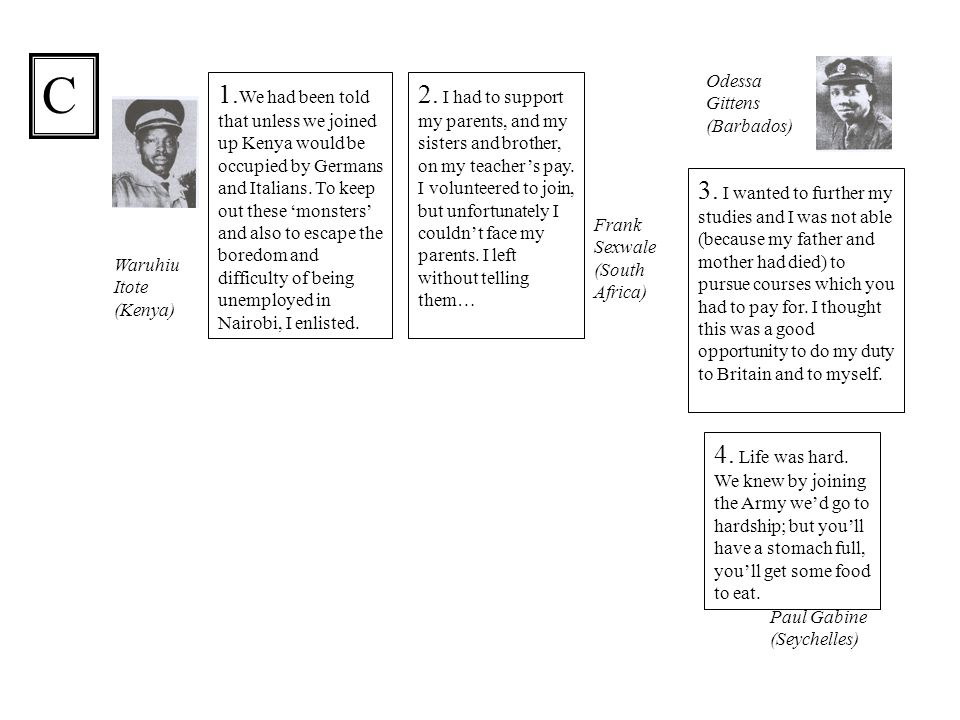 1. We had been told that unless we joined up Kenya would be occupied by Germans and Italians.