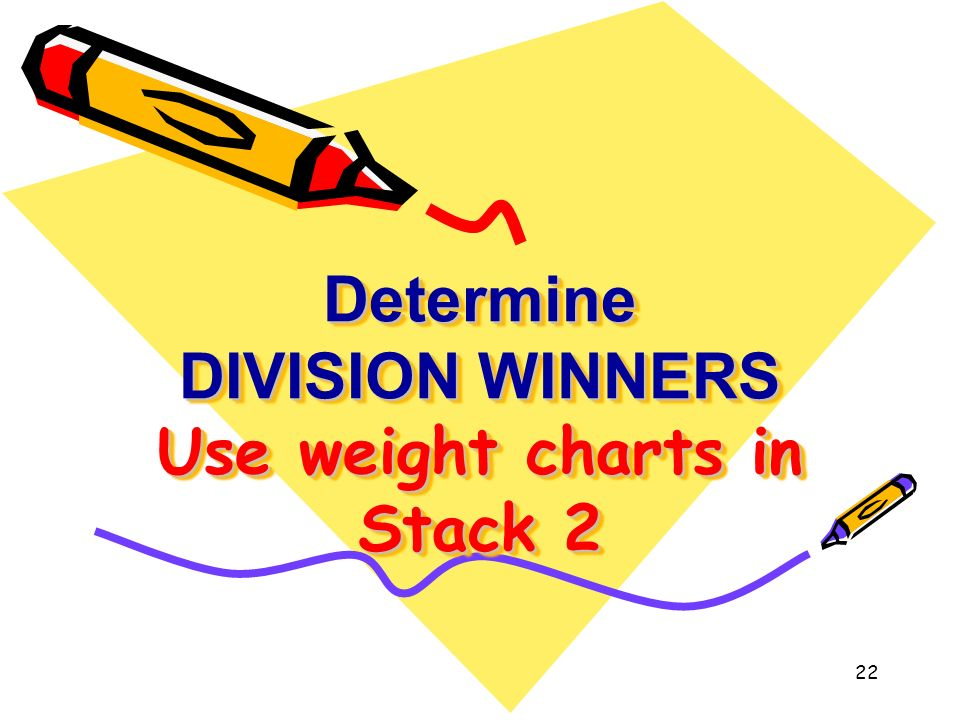 Determine DIVISION WINNERS Use weight charts in Stack 2 Determine DIVISION WINNERS Use weight charts in Stack 2 22