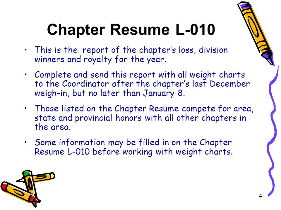 Chapter Resume L-010 This is the report of the chapters loss, division winners and royalty for the year.