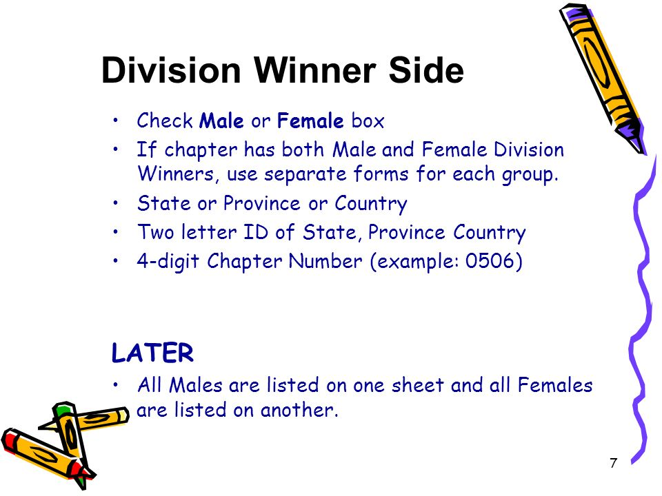 Check Male or Female box If chapter has both Male and Female Division Winners, use separate forms for each group.
