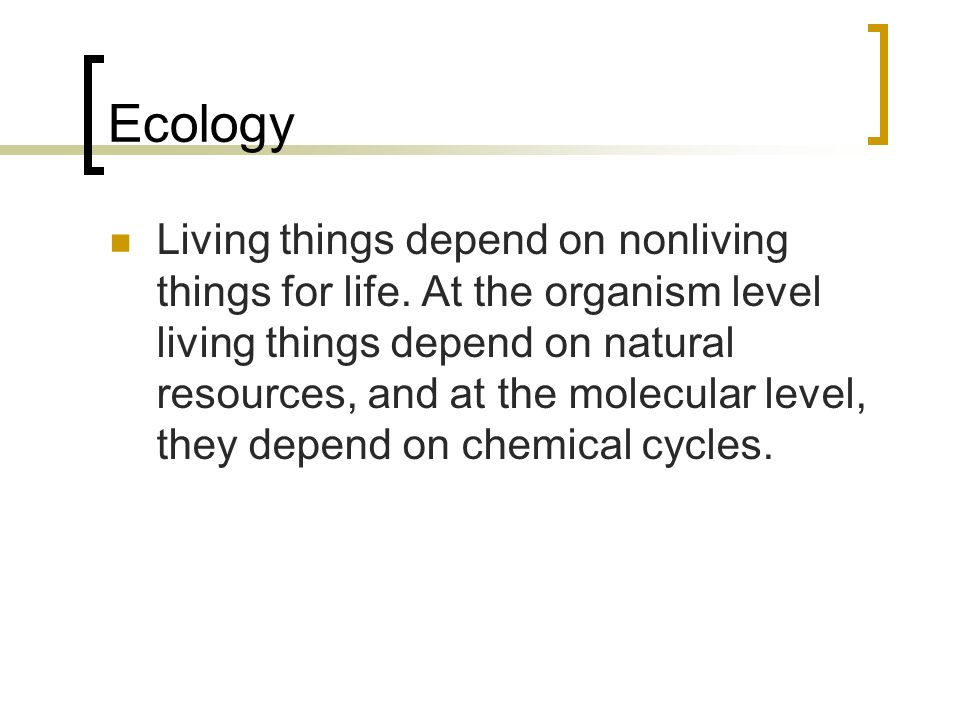 Ecology Living things depend on nonliving things for life.