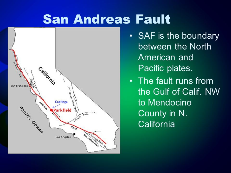 San Andreas Fault SAF is the boundary between the North American and Pacific plates. The fault runs from the Gulf of Calif. NW to Mendocino County in