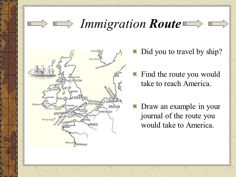 Did you to travel by ship? Find the route you would take to reach America. Draw an example in your journal of the route you would take to America. Imm