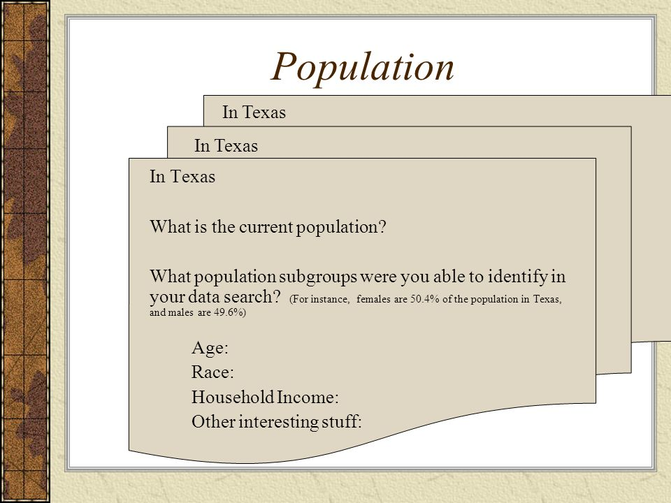 Population In Texas What is the current population? What population subgroups were you able to identify in your data search? (For instance, females ar