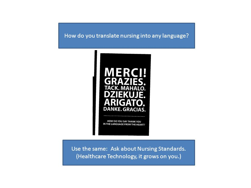 How do you translate nursing into any language? Use the same: Ask about Nursing Standards. (Healthcare Technology, it grows on you.)