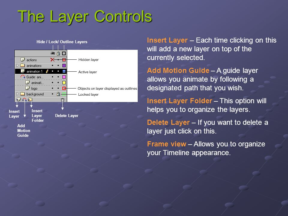 The Layer Controls Insert Layer Add Motion Guide Insert Layer Folder Delete Layer Hide / Lock/ Outline Layers Insert Layer – Each time clicking on this will add a new layer on top of the currently selected.