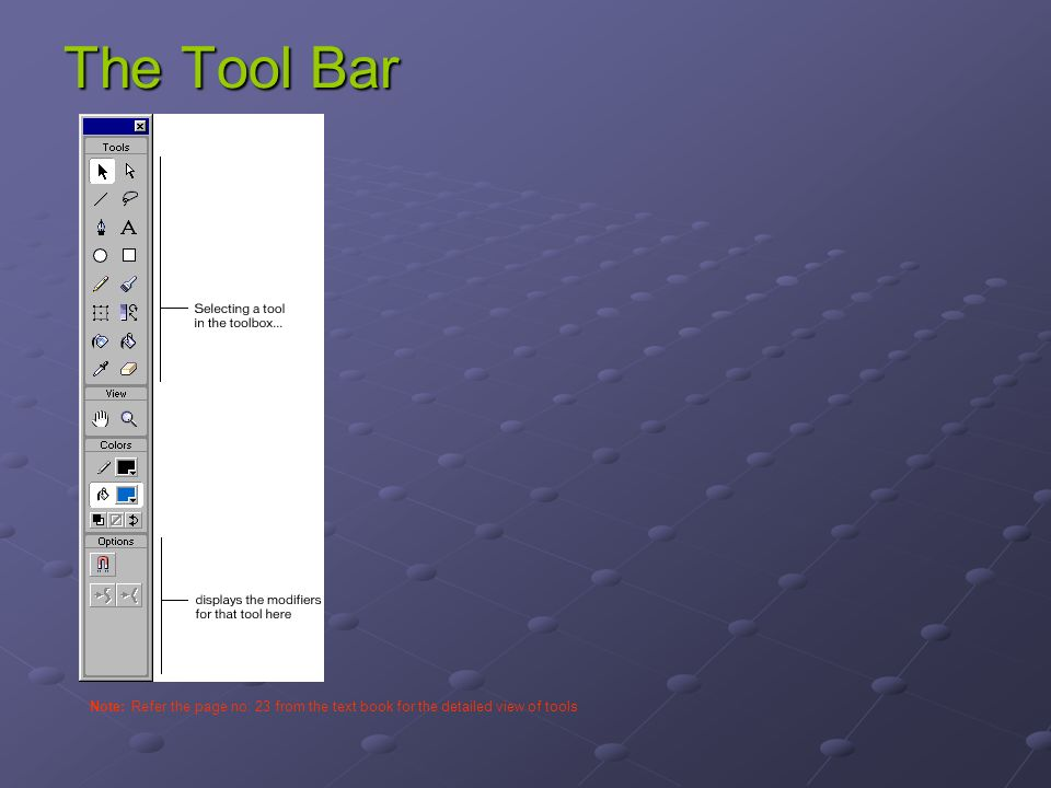 The Tool Bar Note: Refer the page no: 23 from the text book for the detailed view of tools