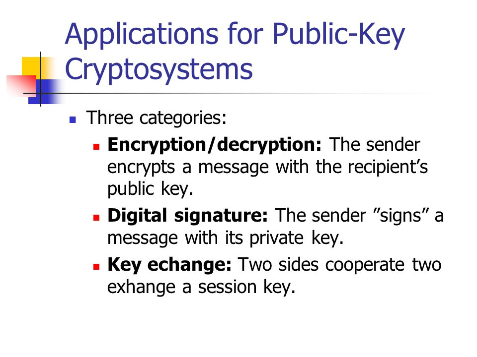 Applications for Public-Key Cryptosystems Three categories: Encryption/decryption: The sender encrypts a message with the recipients public key. Digit