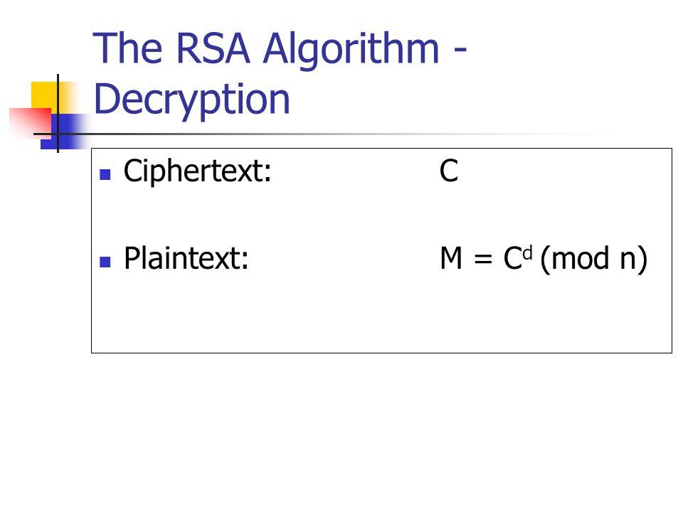 The RSA Algorithm - Decryption Ciphertext:C Plaintext:M = C d (mod n)