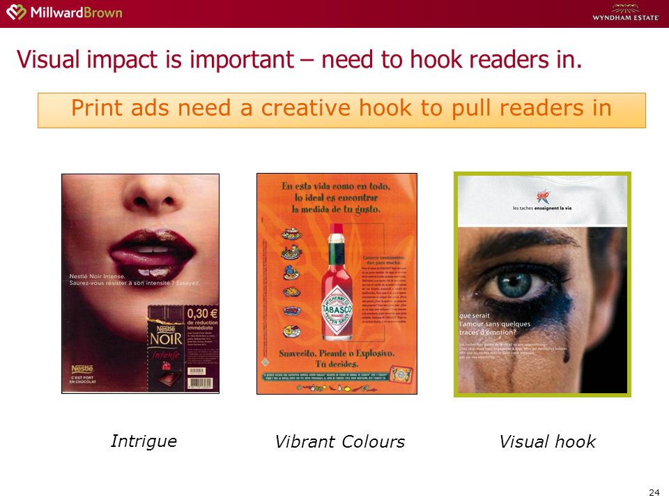 24 Visual impact is important – need to hook readers in.