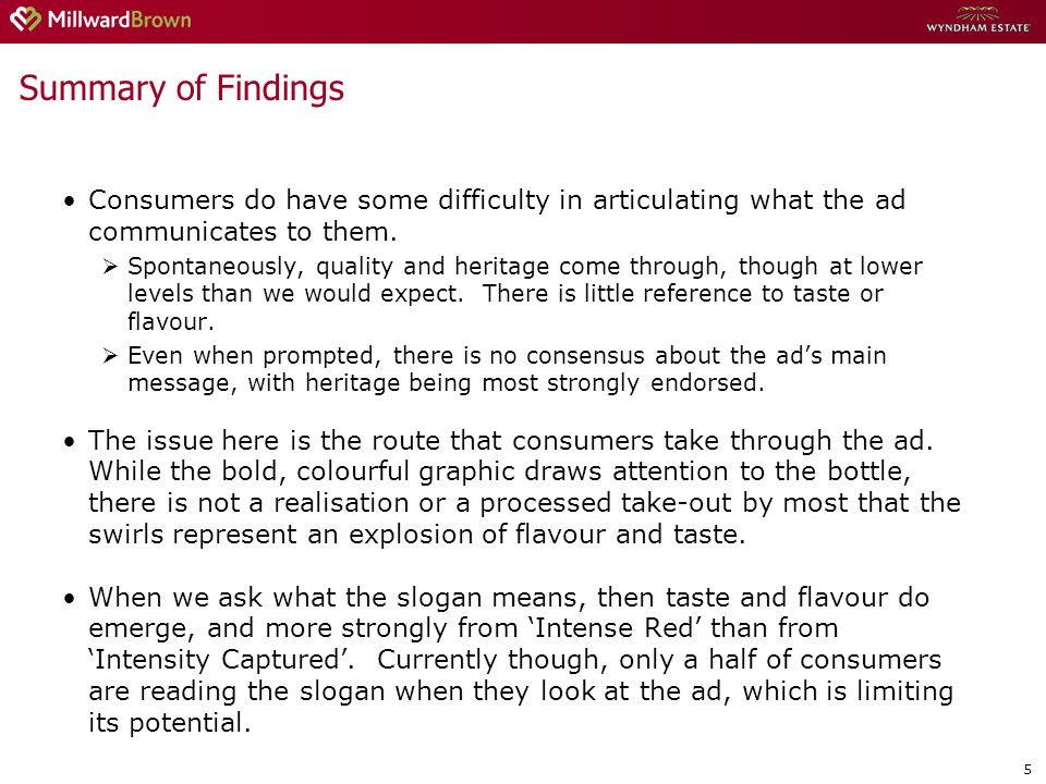 5 Summary of Findings Consumers do have some difficulty in articulating what the ad communicates to them. Spontaneously, quality and heritage come thr