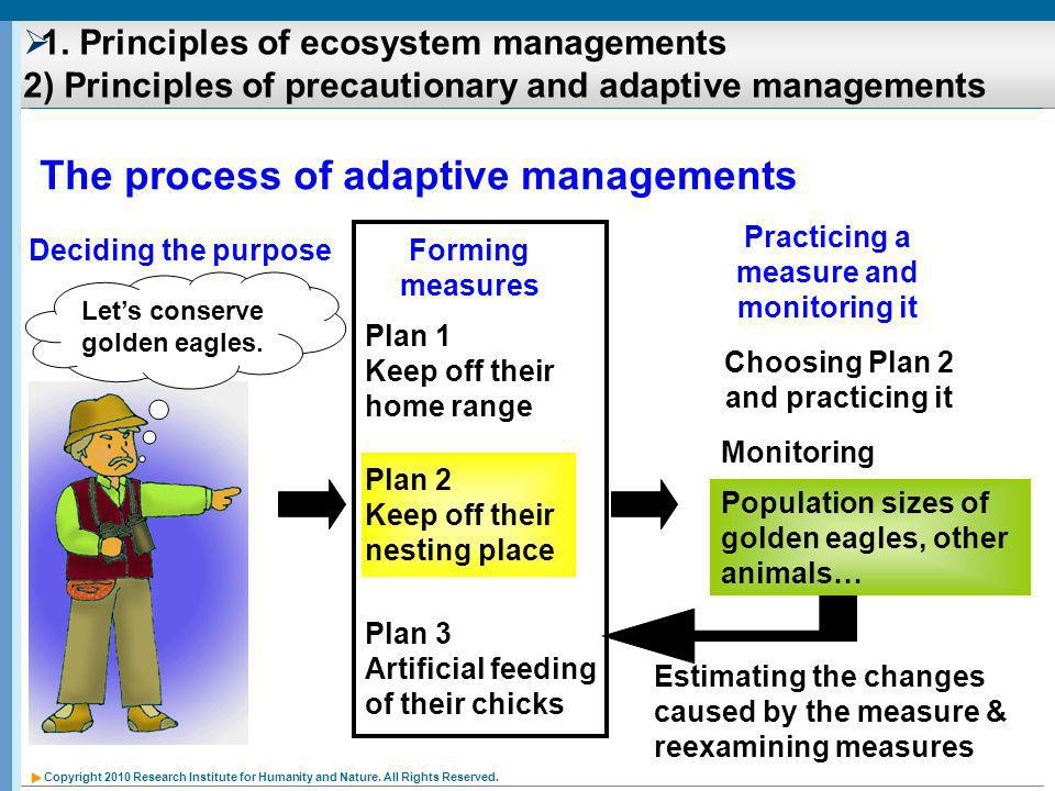 Copyright 2010 Research Institute for Humanity and Nature. All Rights Reserved. Plan 2 Keep off their nesting place The process of adaptive management