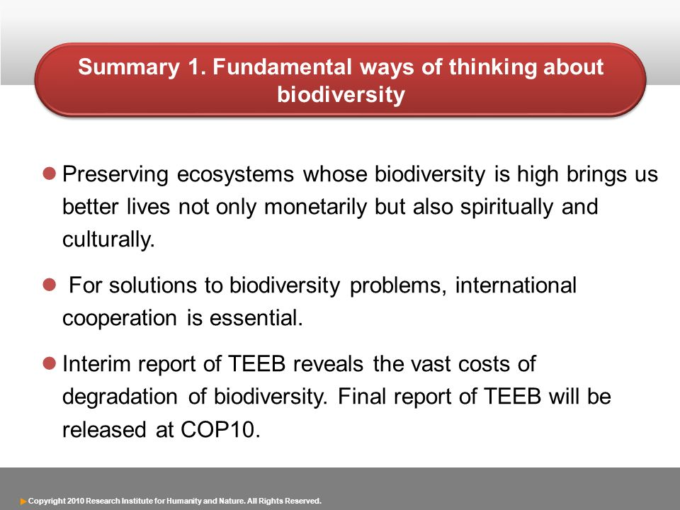 Copyright 2010 Research Institute for Humanity and Nature. All Rights Reserved. Summary 1. Fundamental ways of thinking about biodiversity Preserving