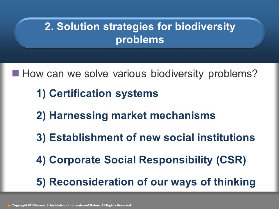 Copyright 2010 Research Institute for Humanity and Nature. All Rights Reserved. 2. Solution strategies for biodiversity problems How can we solve vari