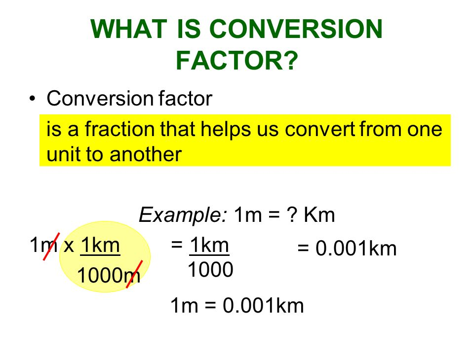 WHAT IS CONVERSION FACTOR? Conversion factor is a fraction that helps us convert from one unit to another Example: 1m = ? Km 1m x 1km= 1km 1000m 1m =