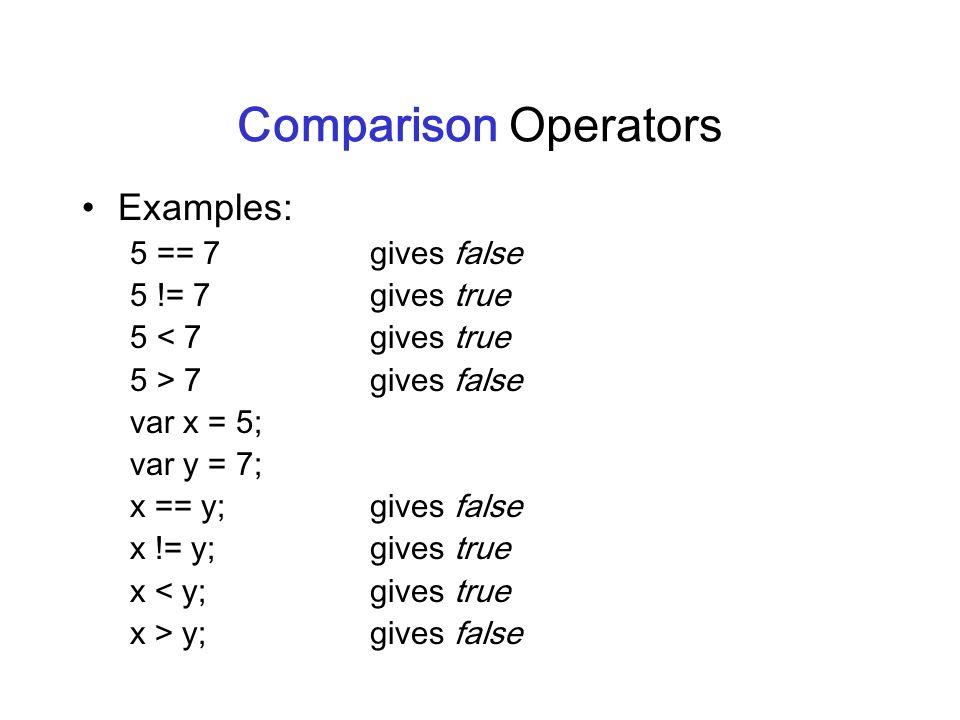 Comparison Operators Examples: 5 == 7gives false 5 != 7gives true 5 < 7gives true 5 > 7 gives false var x = 5; var y = 7; x == y;gives false x != y;gi