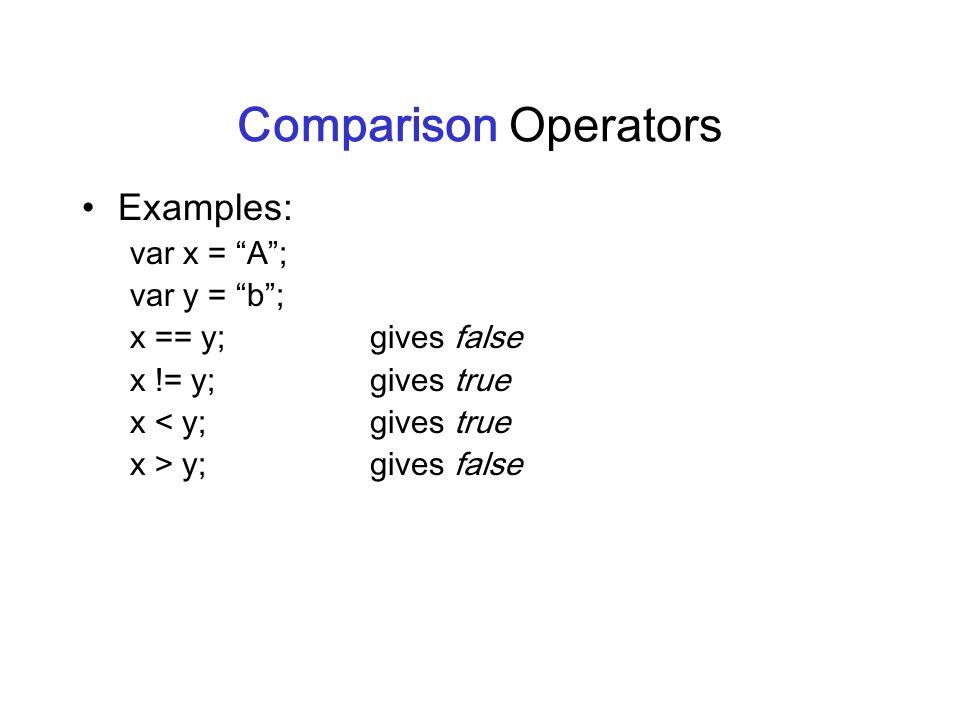 Comparison Operators Examples: var x = A; var y = b; x == y;gives false x != y;gives true x < y;gives true x > y;gives false