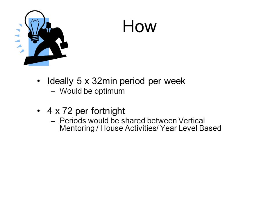 How Ideally 5 x 32min period per week –Would be optimum 4 x 72 per fortnight –Periods would be shared between Vertical Mentoring / House Activities/ Year Level Based