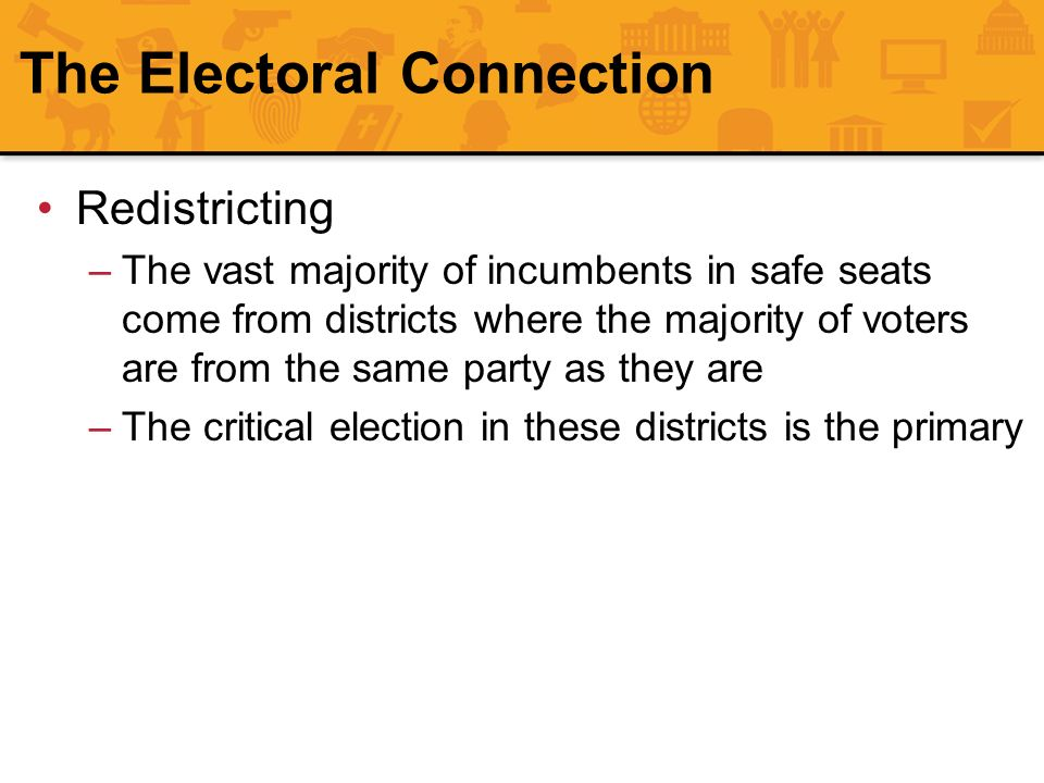 The Electoral Connection Redistricting –The vast majority of incumbents in safe seats come from districts where the majority of voters are from the sa