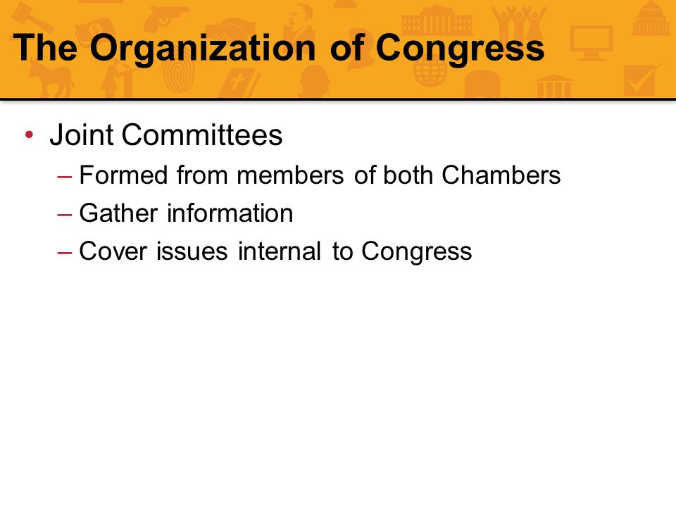 The Organization of Congress Joint Committees –Formed from members of both Chambers –Gather information –Cover issues internal to Congress