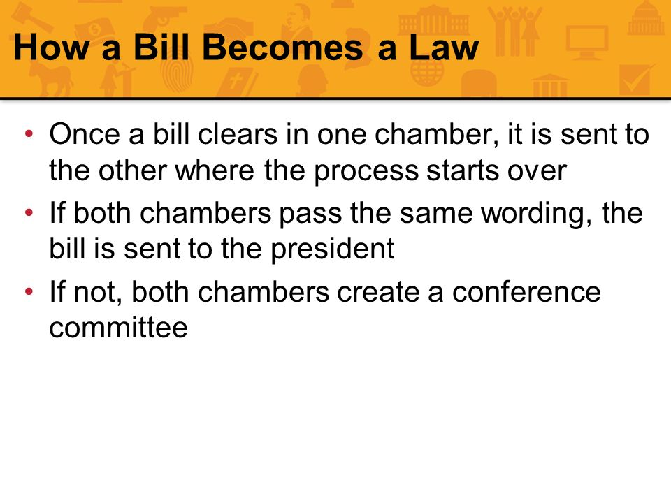 How a Bill Becomes a Law Once a bill clears in one chamber, it is sent to the other where the process starts over If both chambers pass the same wordi