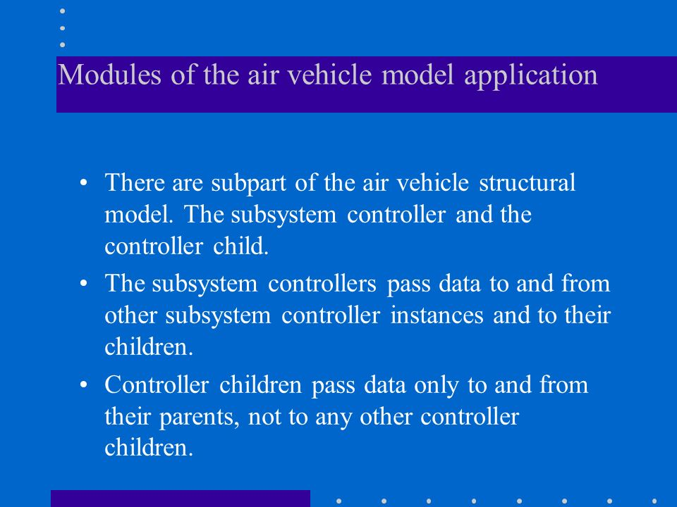Modules of the air vehicle model application There are subpart of the air vehicle structural model. The subsystem controller and the controller child.