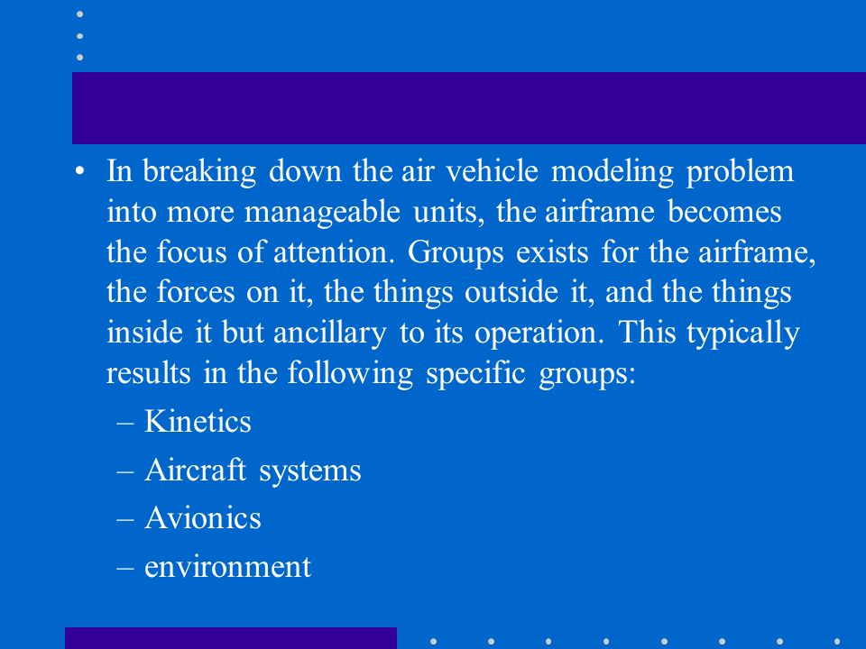 In breaking down the air vehicle modeling problem into more manageable units, the airframe becomes the focus of attention. Groups exists for the airfr