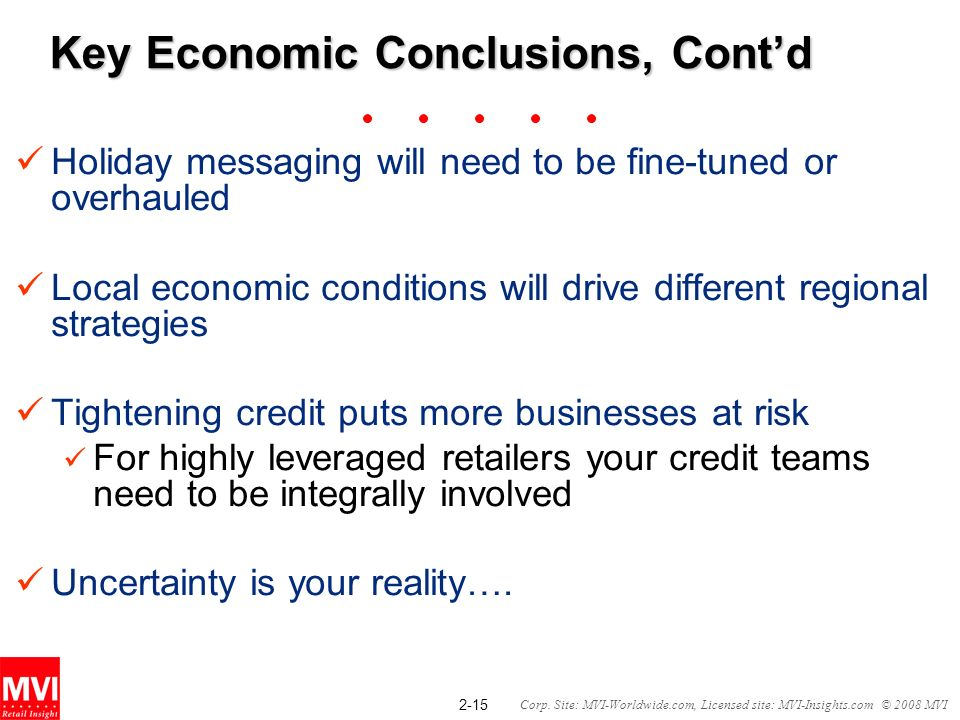 2-15 Corp. Site: MVI-Worldwide.com, Licensed site: MVI-Insights.com © 2008 MVI Key Economic Conclusions, Contd Holiday messaging will need to be fine-