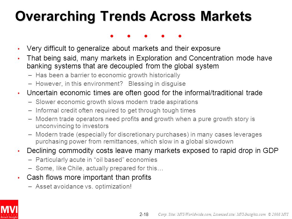 2-18 Corp. Site: MVI-Worldwide.com, Licensed site: MVI-Insights.com © 2008 MVI Overarching Trends Across Markets Very difficult to generalize about ma