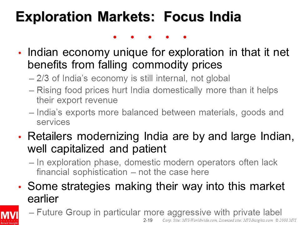 2-19 Corp. Site: MVI-Worldwide.com, Licensed site: MVI-Insights.com © 2008 MVI Exploration Markets: Focus India Indian economy unique for exploration