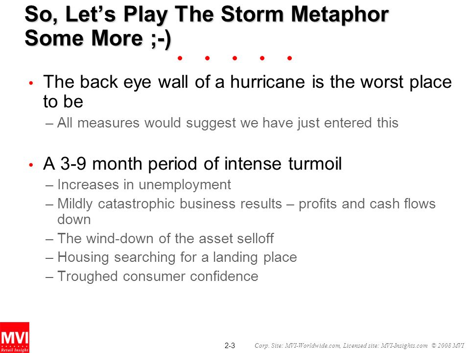 2-3 Corp. Site: MVI-Worldwide.com, Licensed site: MVI-Insights.com © 2008 MVI So, Lets Play The Storm Metaphor Some More ;-) The back eye wall of a hu