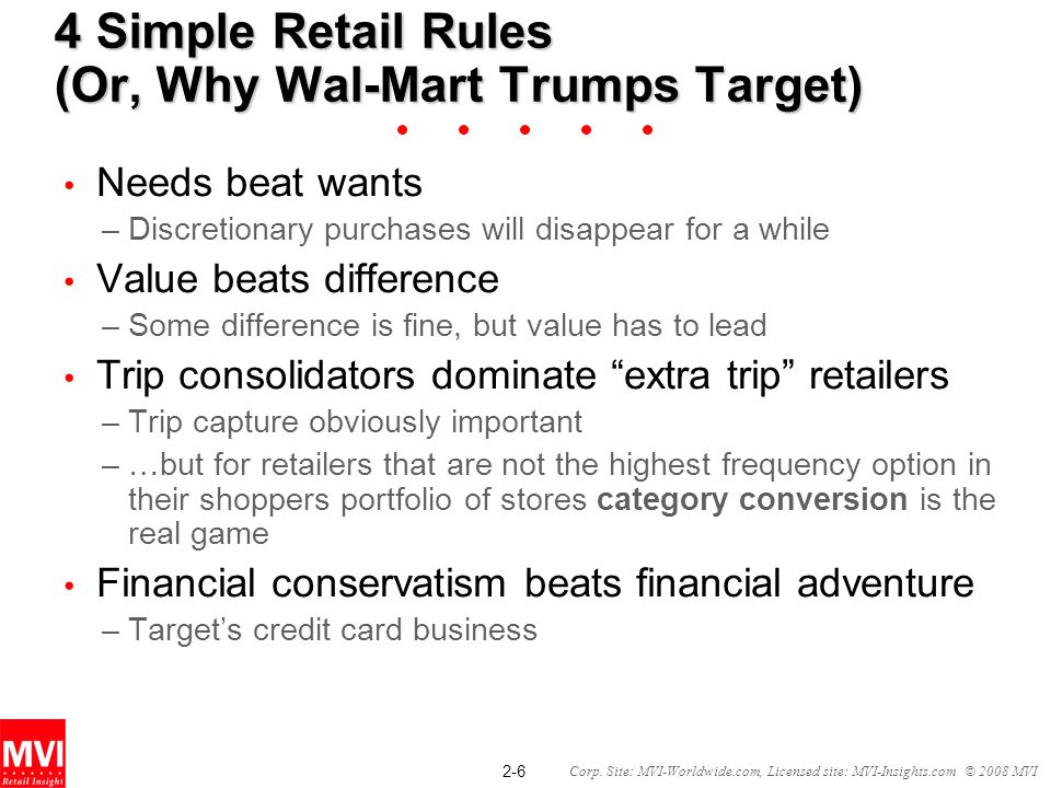 2-6 Corp. Site: MVI-Worldwide.com, Licensed site: MVI-Insights.com © 2008 MVI 4 Simple Retail Rules (Or, Why Wal-Mart Trumps Target) Needs beat wants