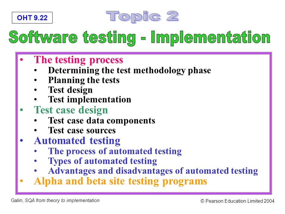 OHT 9.22 Galin, SQA from theory to implementation © Pearson Education Limited 2004 The testing process Determining the test methodology phase Planning