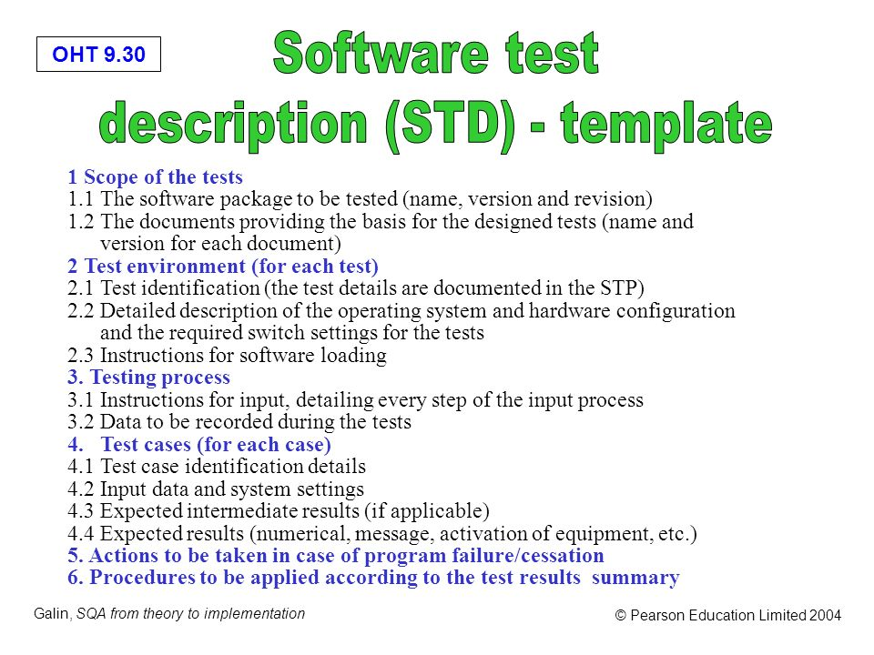 OHT 9.30 Galin, SQA from theory to implementation © Pearson Education Limited 2004 1 Scope of the tests 1.1 The software package to be tested (name, v