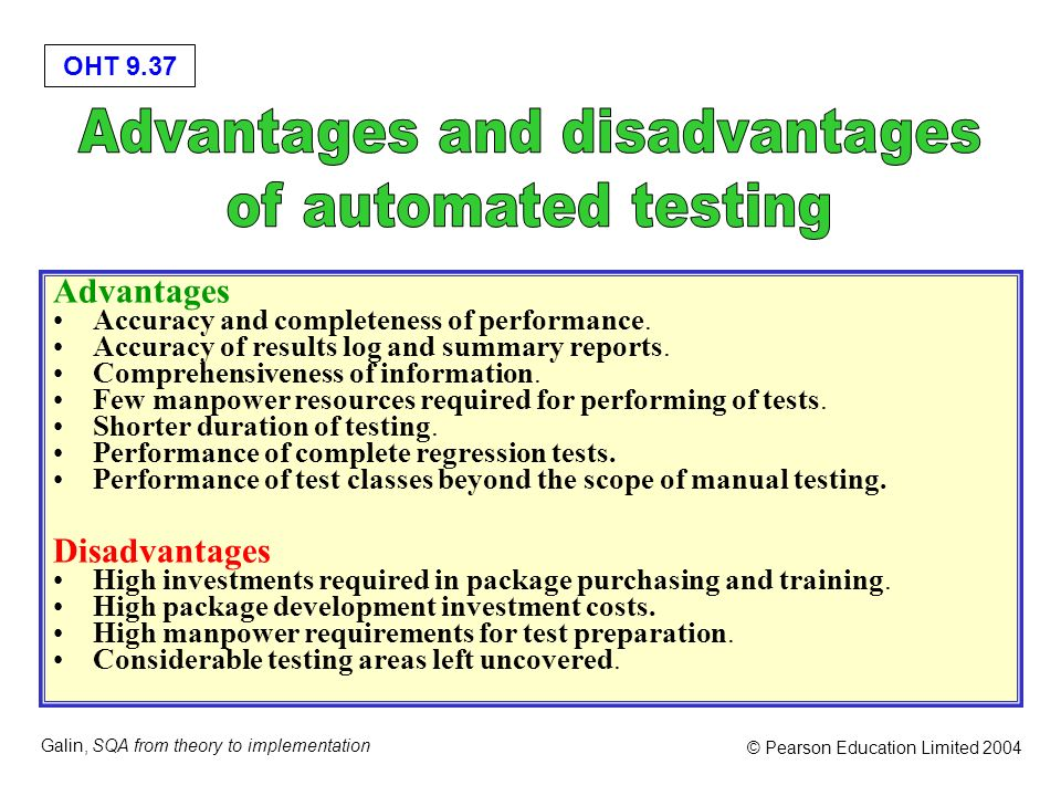 OHT 9.37 Galin, SQA from theory to implementation © Pearson Education Limited 2004 Advantages Accuracy and completeness of performance. Accuracy of re
