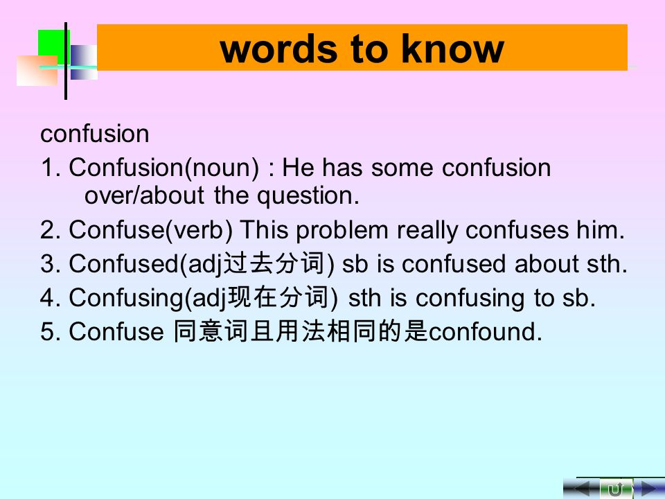 NEXT BACK words to know 1.Concern(noun): chairman Jiang expressed his conern over(about; for) the laid-off workers.