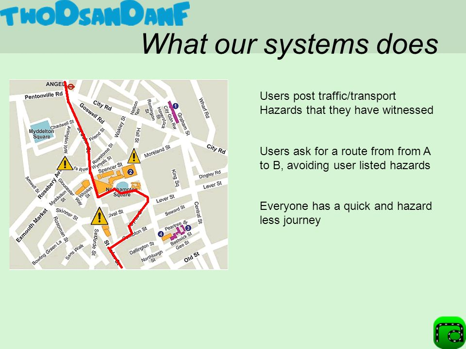 What our systems does Users ask for a route from from A to B, avoiding user listed hazards Everyone has a quick and hazard less journey Users post traffic/transport Hazards that they have witnessed