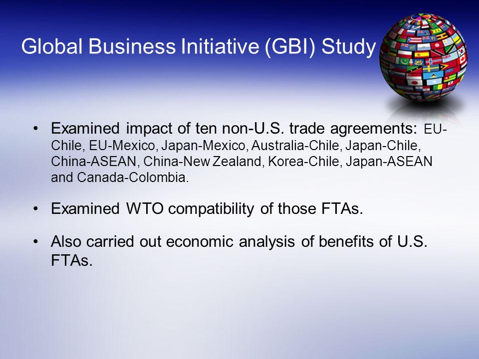 Global Business Initiative (GBI) Study Examined impact of ten non-U.S. trade agreements: EU- Chile, EU-Mexico, Japan-Mexico, Australia-Chile, Japan-Ch