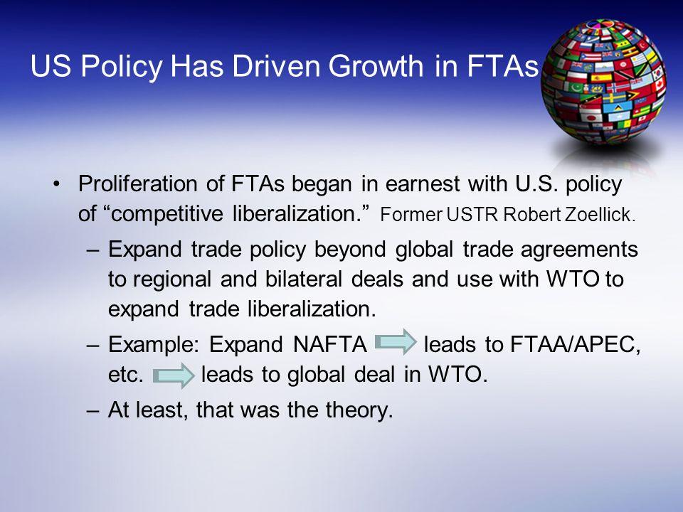 US Started Strong, But Not Much Recently FTA Year Negotiations Initiated Date Entered into Force Israel FTA19849/1/85 Canada FTA19861/1/89 NAFTA19911/1/94 Jordan FTA200012/17/01 Singapore FTA20001/1/04 Chile FTA20001/1/04 Australia FTA20031/1/05 Morocco FTA20021/1/06 Bahrain FTA20048/1/06 El Salvador - CAFTA20033/1/06 Honduras - CAFTA20034/1/06 Nicaragua – CAFTA20034/1/06 Guatemala – CAFTA20037/1/06 Dominican Rep - CAFTA20033/1/07 Costa Rica – CAFTA20031/1/09 Oman FTA20051/1/09 Peru20032/1/09 Colombia2004[signed 2006] Panama2004[signed 2007] Korea2006[signed 2007]