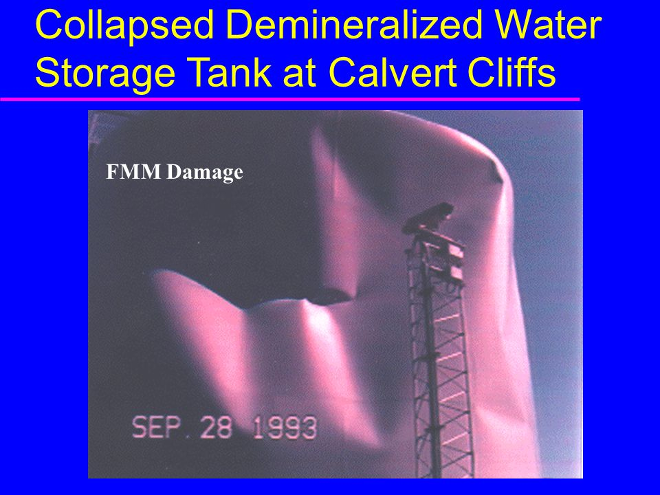 Collapsed Demineralized Water Storage Tank at Calvert Cliffs FMM Damage