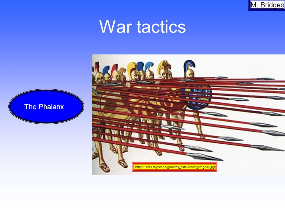 War tactics M. Bridgeo http://users.skynet.be/grandes_batailles/img/img296.jpg The Phalanx
