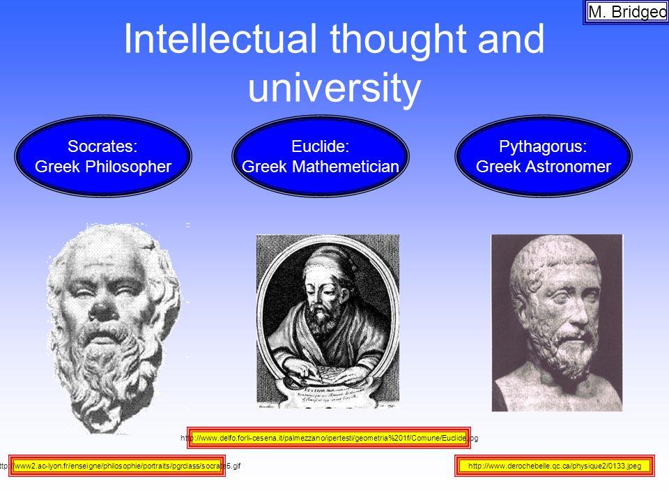 Intellectual thought and university M. Bridgeo http://www.delfo.forli-cesena.it/palmezzano/ipertesti/geometria%201f/Comune/Euclide.jpg http://www2.ac-