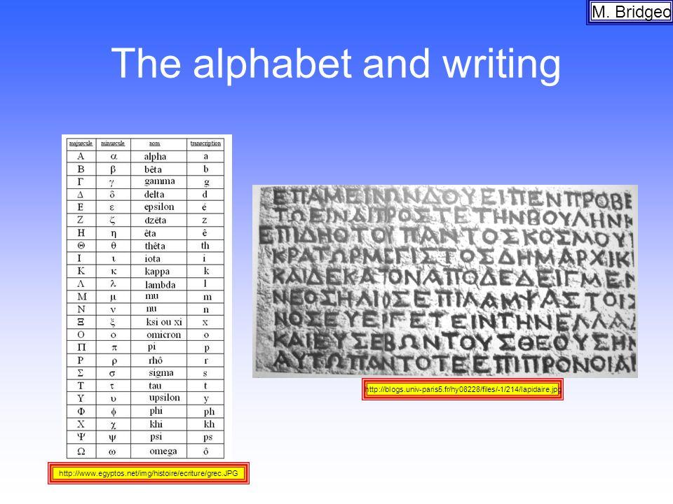 The alphabet and writing M. Bridgeo http://blogs.univ-paris5.fr/hy08228/files/-1/214/lapidaire.jpg http://www.egyptos.net/img/histoire/ecriture/grec.J