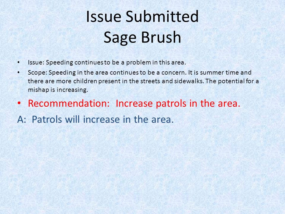 Issue Submitted Sage Brush Issue: Speeding continues to be a problem in this area.