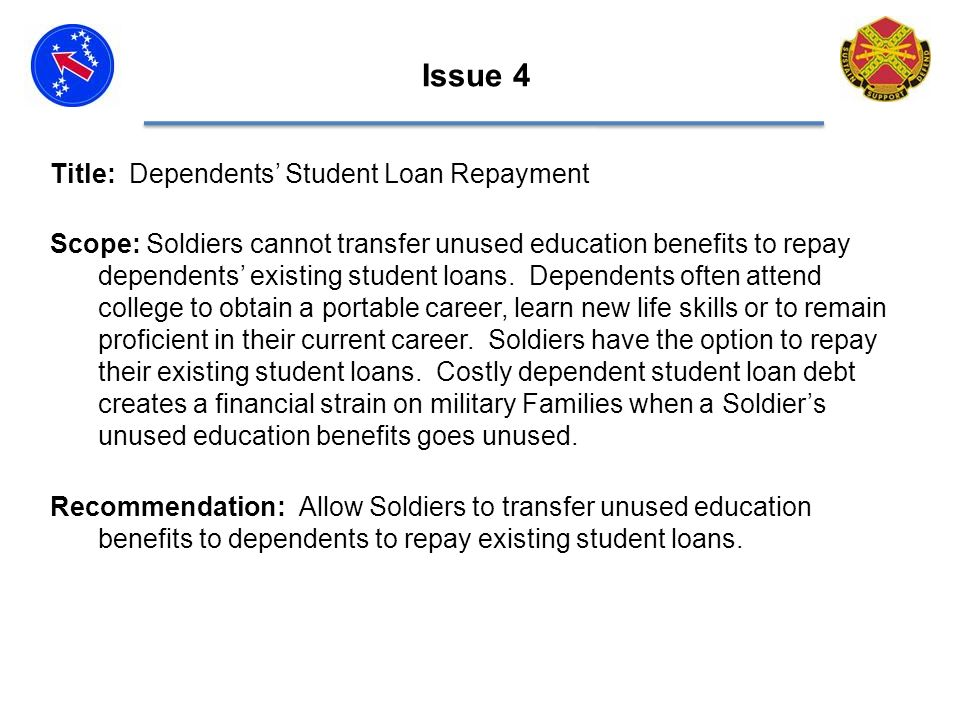Issue 4 Title: Dependents Student Loan Repayment Scope: Soldiers cannot transfer unused education benefits to repay dependents existing student loans.